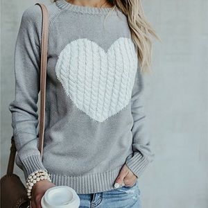 Gray Sweater with White Heart